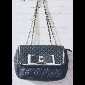 Betsey Johnson Heart Quilted Purse w/Bow